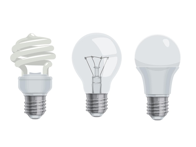 Lightbulbs and lamps, cartoon icons. isolated electric led and incandescent Premium Vector