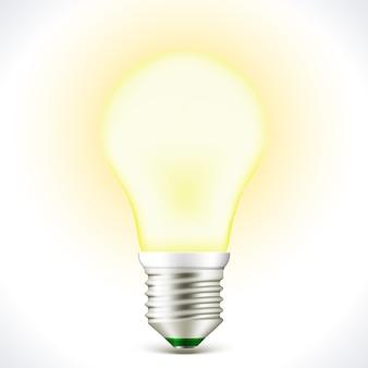 Lighted energy saving bulb lamp isolated