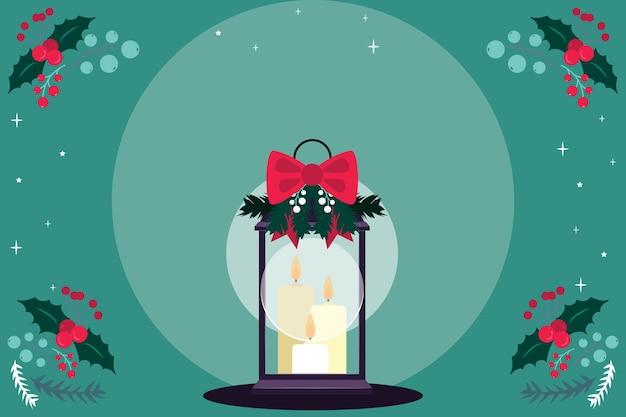 リボンフラットデザインでクリスマスのキャンドルを明るく