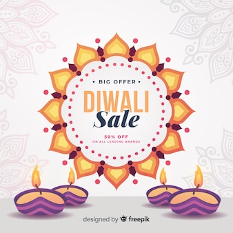 Lighten candles for diwali sales in flat design