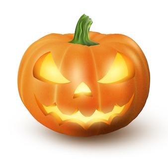 Осветить джек o фонарь светящийся хэллоуин реалистичная улыбка лицо тыквы при свечах внутри. изолированные на белом фоне страшное выражение.