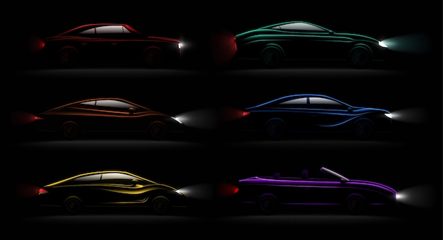 Lightened cars in darkness realistic 6 luxury captivating metallic reflecting colors automobiles lamps lit set
