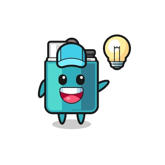Lighter character cartoon getting the idea , cute design