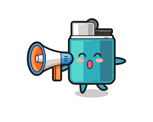 Lighter character illustration holding a megaphone , cute design