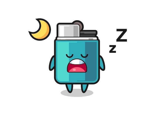 밤에 자는 라이터 캐릭터 일러스트, 귀여운 디자인