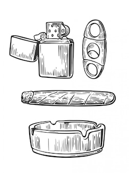 Lighter, cigar, ashtray,  guillotines for cigars. set of vintage smoking tobacco elements.  vintage engraved black illustration isolated on white background.