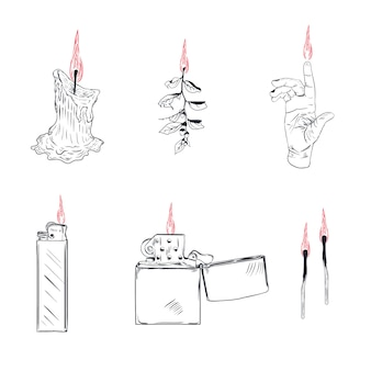 Lighter cigarette-lighter with fire or flame light to burn cigarette illustration set of flammable smoking equipment