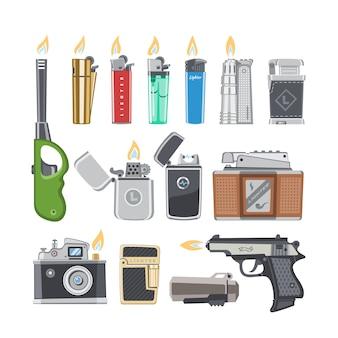 白い背景の上の可燃性の喫煙器具のタバコイラストセットを燃やす火や炎の光とライターシガーライター