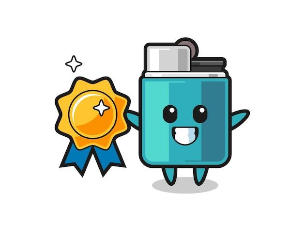 Lighter mascot illustration holding a golden badge , cute design