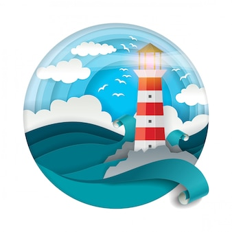 Lighthouse among raging waves  in paper cut style
