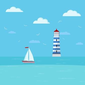 Маяк и парусник на морском пейзаже. побережье с голубой водой, облака, корабль, здание маяка. векторная иллюстрация морской пейзаж фона в плоском мультяшном стиле. летнее время баннер.