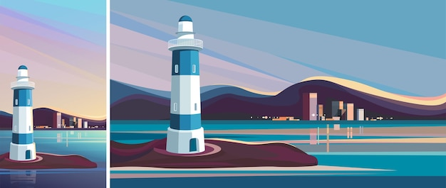 Lighthouse on background of city