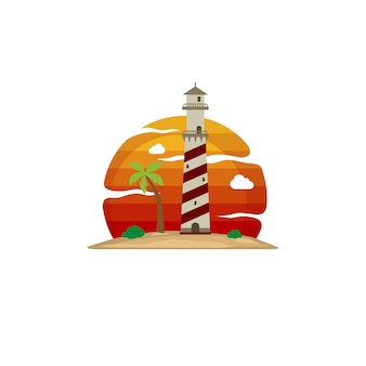 Lighthouse beach island view vector art