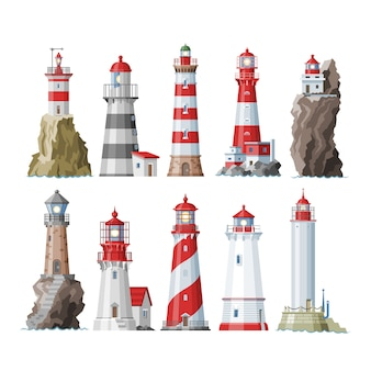 白い背景の上の灯台の海辺の海岸のイラストセットからsesへの照明の灯台ビーコンライタービーミングパス