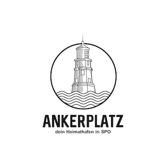 Lighthouse beacon ocean marine logo design