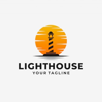 Lighthouse, beacon with sunset logo design template