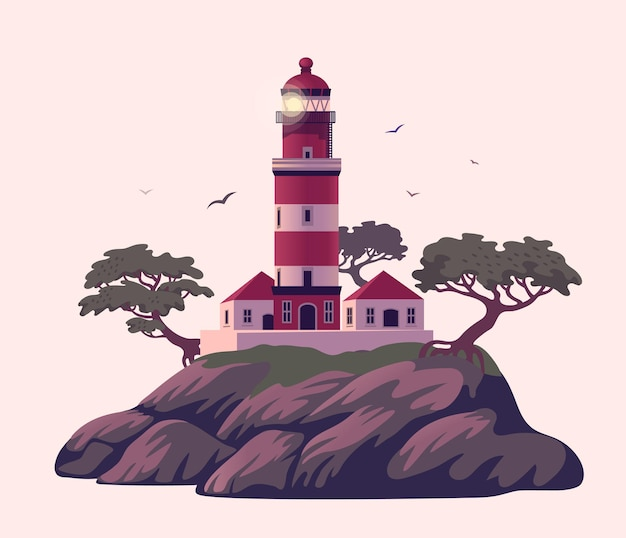 松のある崖の上の灯台美しいビーコン