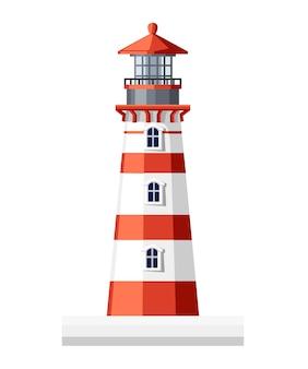 灯台の建物です。 。白い背景のイラスト。