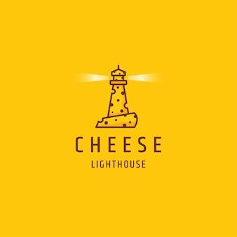 灯台チーズフラットロゴアイコンデザインテンプレートイラスト