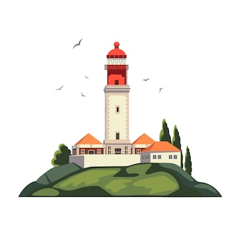 Lighthouse on coast of sea, lighthouse infrastructure on island. summer holidays. cape rock. isolated