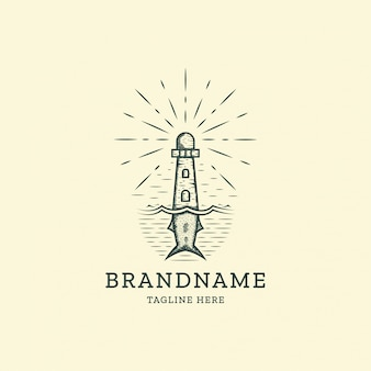 Lighthouse and fish tail retro vintage logo design template