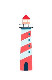 Маяк плоский векторные иллюстрации. мультфильм башня навигационной помощи, изолированные на белом фоне. полосатое здание красного, бело-синего цвета с фонарями и линзами для судоходства.