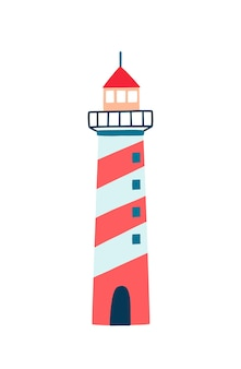 Lighthouse flat vector illustration. cartoon navigational aid tower isolated on white background. striped red, white and blue coloured building with lamps and lenses for ship navigation.
