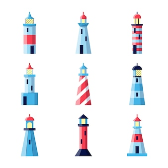 Lighthouse icons set