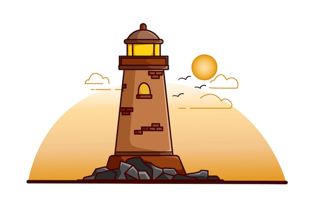 Lighthouse illustration at the afternoon