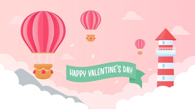 The lighthouse is high above pink clouds with heart balloons floating in the sky on valentine's day.