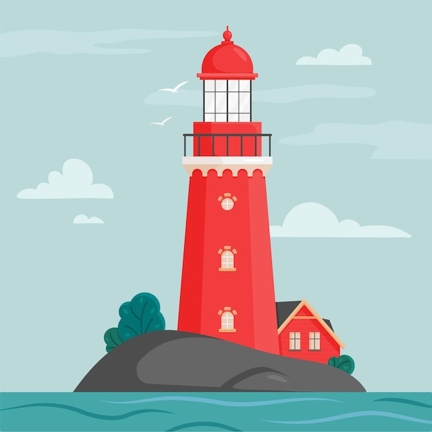 Lighthouse on island in flat style