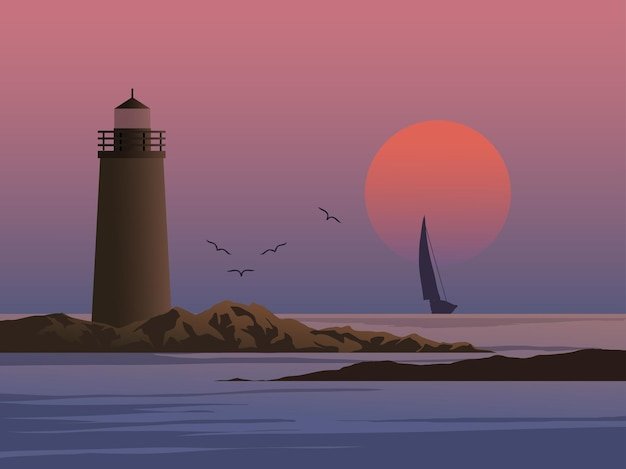 Остров маяка на закате с парусной лодкой и птицами
