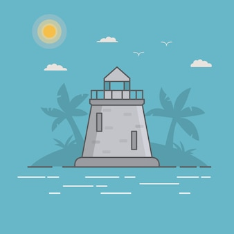 Lighthouse on the island with palm trees.