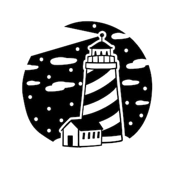 白い背景で隔離灯台