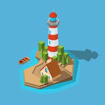 Маяк изометрический. море океан лодка пляж маленький остров с навигационным маяком и изображением здания