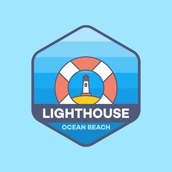Lighthouse life ring logo line минимальный стиль векторная иллюстрация
