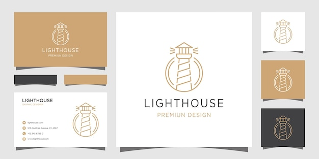 Lighthouse line art logo template and business cards
