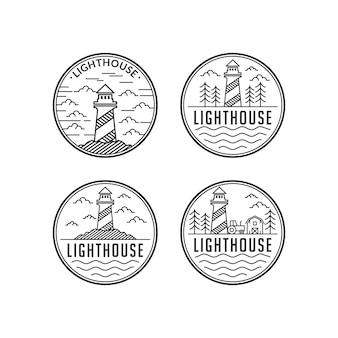 灯台ラインアートビンテージスタイルのロゴデザインセットテンプレート