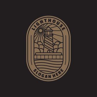 Lighthouse line logo template