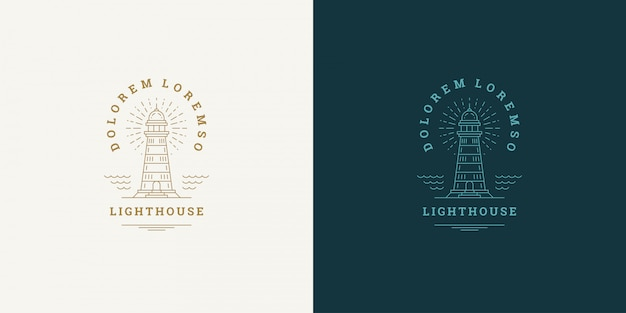 Lighthouse line symbol vector logo emblem design template illustration simple minimal linear style