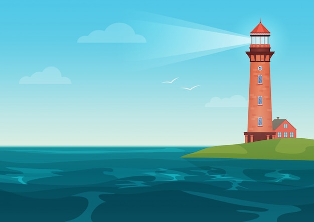 Lighthouse on on the little island