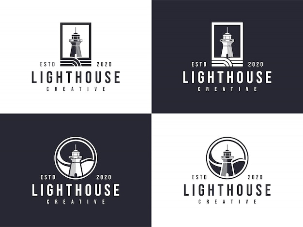 Lighthouse logo collection emblem in two versions