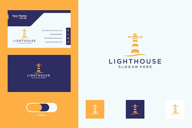 Дизайн логотипа маяка и визитная карточка