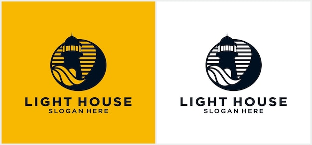 Lighthouse logo design template with unique monoline lighthouse line sea water element