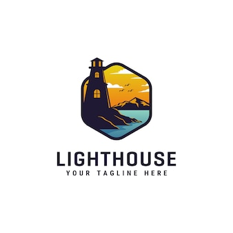 灯台のロゴデザインテンプレート