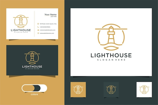 Lighthouse logo design with line style and business card