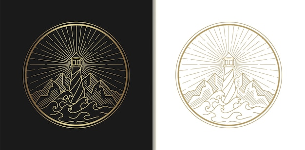 Рисунок логотипа маяка, морской пейзаж, волна и гора
