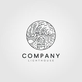 灯台のロゴのイラスト、ミニマリストの灯台のロゴ