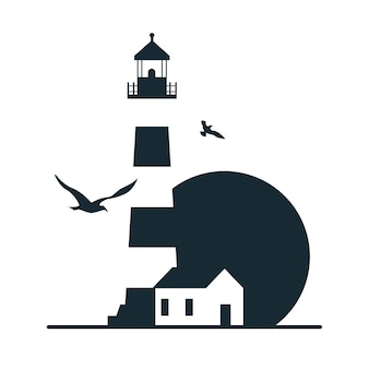Lighthouse logo template design.