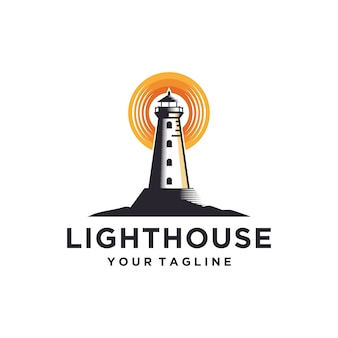 Lighthouse logo  template illustration